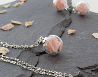 Mini Baby Pink Flower petal Necklace with silver chain