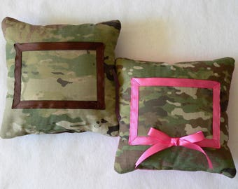 "Military ""Thinking of You"" Pillow with Picture Frame Window"