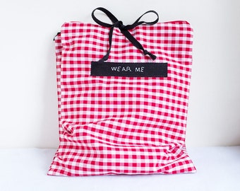 Travel Underwear Bag, Red and White Gingham