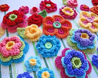 CROCHET PATTERN - Floral Fantasy - 5 colorful crochet flower patterns, 2 crochet leaf patterns, flower applique - Instant PDF Download