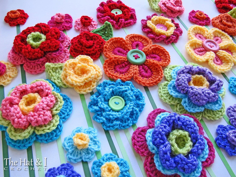 CROCHET PATTERN - Floral Fantasy - 5 colorful crochet flower ...