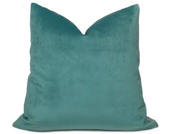 """Robert Allen Touche Solid Seafoam Green Velvet Pillow Cover, Fits 12x18 12x24 14x20 16x26 16"""" 18"""" 20"""" 22"""" 24"""" Cushion Inserts"""