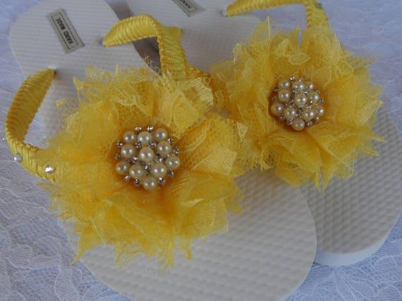 Flip Girls Bridal Sandals Beach Shabby Flower Flip Flops Bridal Flower Canary Shoes Bridesmaids Yellow Wedding Shoes Flops EOawxn1qC