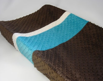 Chocolate Brown Changing Pad Cover with Stripes