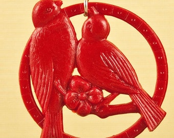 Vintage Red Kissing Celluloid Bird Necklace