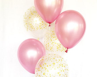 Pink and Gold Star Latex Balloons~Pink & Gold First Birthday~Baby Shower~Bridal Shower~Twinkle Twinkle Little Star Party~Twinkle Baby Shower