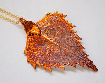 Real Birch leaf iridescent copper pendant necklace