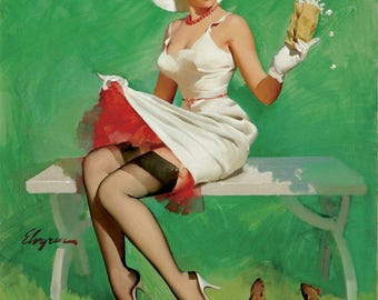 Pin Up Girl Art Print Reproduction, squirrely situation 1968 by Gil Elvgren