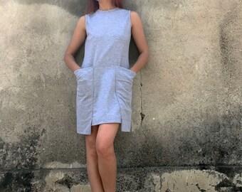 Tunic Dress, Short Dress, Minimalist Dress, Jersey Dress, Sleeveless Tunic, Gray Dress, Oversized Tunic Dress, Extravagant Tunic, Wide Top