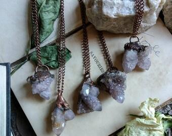 Amethyst Spirit Quartz Necklace. Amethyst Cactus Quartz Pendant. Fairy Quartz Necklace. Crystal Healing.