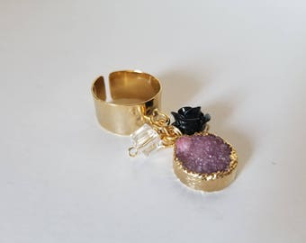 Cute adjustable ring with Druzy stone