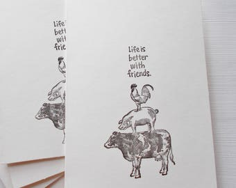 """Hand Stamped Farm Animal Friends Card with quote """"Life is better with friends."""" Set of 5 Blank Greeting Cards Ivory Card Stock"""