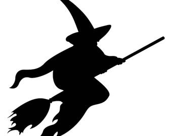 Halloween 2018 Witch flying with broom hat stencil profile 5 stencils formats svg dwg dxf png pdf Silhouette cotta