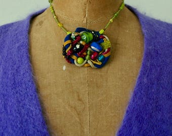 """Art-to-Wear Necklace Miriam Haskell Style - """"Beaded Eye Candy"""""""