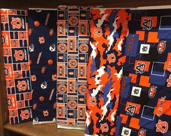 NCAA Auburn University Tigers Navy & Orange College Logo Cotton Fabric! [Choose Your Cut Size]