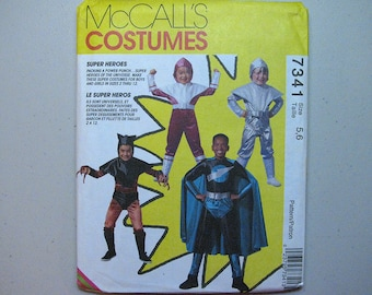 Vintage McCalls 7341 Halloween Costume Sewing Pattern - Child Super Hero Pattern Size 5, 6 - Sewing Supplies - Super Heroes Pattern