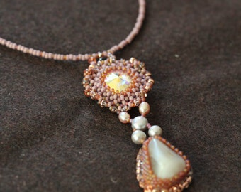 handmade beaded necklace with Botswana agate and Swarovski crystals, dust rosé