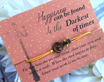 Happiness Can Be Found In The Darkest Of Times Wish Bracelet, Wish Bracelet, Light Bulb Gifts, Book Inspired Gifts, Inspirational Jewelry