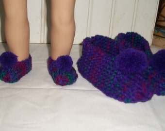 Dolly and Me Slippers for 6-8 Year Old Girl and 18inch doll - Purple and Gemstone