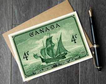 Newfoundland Canada art cards, Cabot ship Matthew, Nfld Canada, Sailing ship birthday card, Newfoundland Christmas, Canada retirement cards