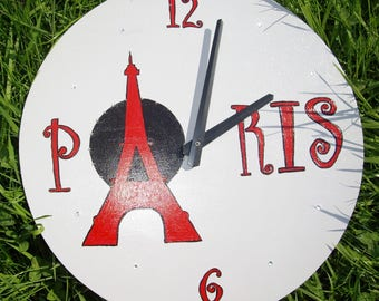 Wooden red and gray Paris clock