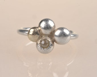 Recycled Silver and 8ct Gold Quatrefoil Stacking Ring with Silver Rose Cut Diamond