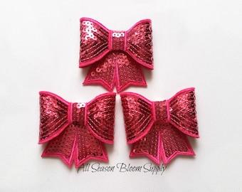"Large Bows, Sequin Bow Knot Applique, Bows, Sequin bows, Hot Pink Bows - 3""x2.7"""