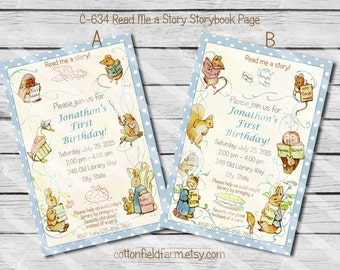 Storybook Page Digital Party Invitation, C-634, Read Me a Story Peter Rabbit Birthday or Baby Shower