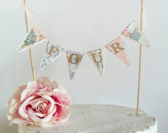Birthday Cake Bunting Topper - Custom Age Cake Topper - Boho Florals - Peach, Lilac, Aqua