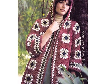 Womens Crochet Pattern Hooded Jacket Vintage Granny Square Sweater Crochet Pattern Hippie Sweater PDF - C84