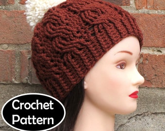 CROCHET HAT PATTERN Instant Download - Aubrey Cabled Beanie Hat Womens Fall Winter - Permission to Sell English Only
