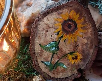 Wooden Disc Coaster Floral