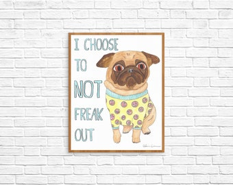 College Student Gift, Anxiety Relief, College Dorm Decorations, Cubicle Art Gift,Going To College Gift,Pug Dog Lover Art Gift,Pug Art Prints