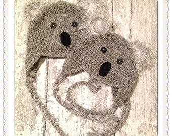 MADE TO ORDER, Crochet  Koala Bear Hat,   newborn to Adult sizing