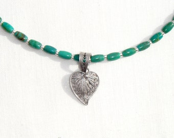 Green Turquoise Necklace, Sterling Heart Pendant, Turquoise Heart Necklace, Green Turquoise Gemstone Necklace, Sterling Silver Heart Pendant