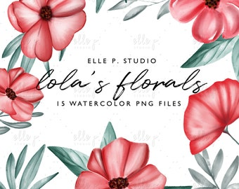 Lola's Florals- Watercolor Flowers Clipart / Watercolor Florals Clipart / Florla Clipart / Red Florals / Watercolor Clipart