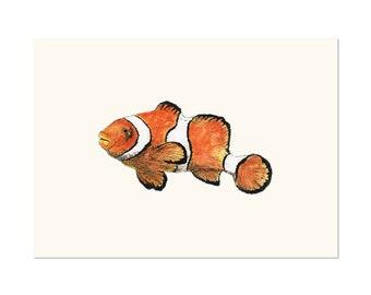 Clownfish, fish art print 5x7 Animal Art Watercolor Painting Fish Beach Ocean, illustration, home decor, Nursery, wall art,  postcard