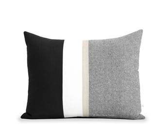 16x20 Metallic Gold Stripe Pillow Cover in Black and Cream - Modern Glam Home Decor by JillianReneDecor - Chambray Pillows - Colorblock