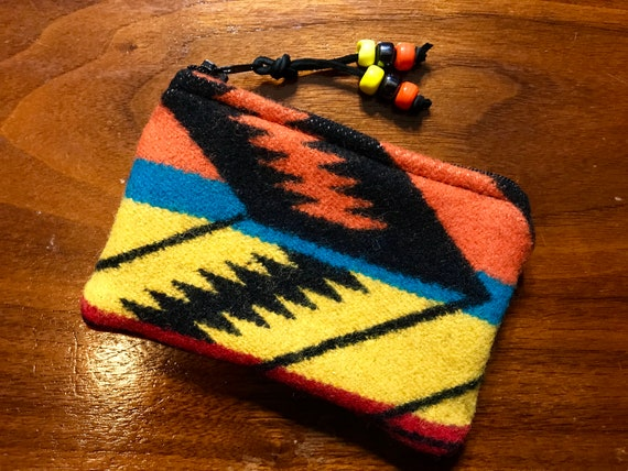 Wool Coin Purse / Phone Cord / Gift Card Holder / Zippered Pouch Bright Arrowpath