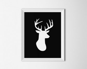 Deer head printable, Deer head poster, black and white, antlers art print, deer antlers, deer head silhouette, cabin art, deer wall art
