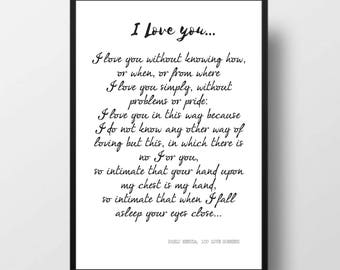 Printable Quote, PABLO NERUDA Poem, 100 Love Sonnets, Love Poem, Quote Print, Poetry, Gift For Him, Gift For Her, Anniversary, Wedding Gift