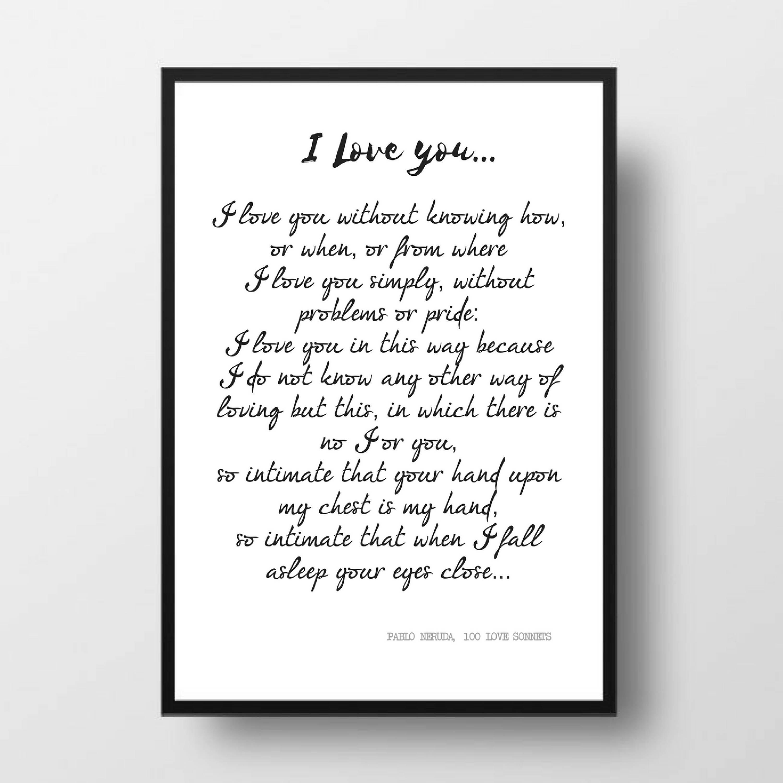 Printable Quote PABLO NERUDA Poem 100 Love Sonnets Love