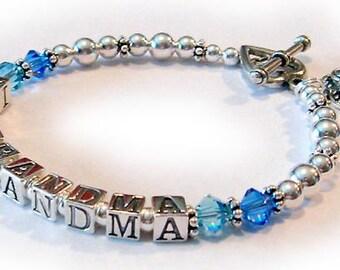 Birthstone Bracelet with Grandma written on it - charms optional