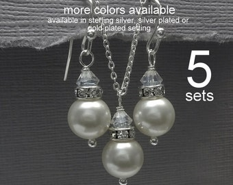 Custom Bridesmaid Gift, Set of 5 Bridesmaid Necklace and Earring Set,  Bridesmaid Gift, Bridesmaid Jewelry Set of 5, Wedding Jewelry Set