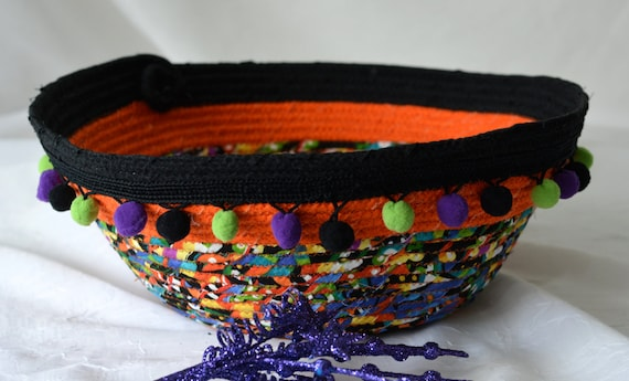 Halloween Decoration, Sale... Handmade Bowl, Artisan Quilted Basket, Unique Fiber Bowl,  homemade coiled fabric basket