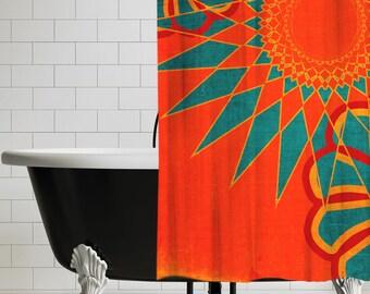 orange and teal shower curtain. West Indies Boho Modern Shower Curtain  Orange Bohemian Bathroom Decor UBU Republic Curtains Rings Etsy