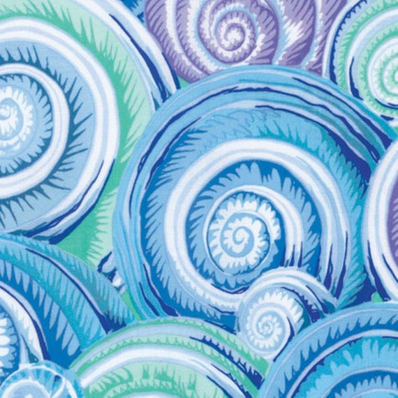 SPIRAL SHELLS Sky Blue PJ073 by Philip Jacobs for Kaffe Fassett Collective Sold in 1/2 yd increments