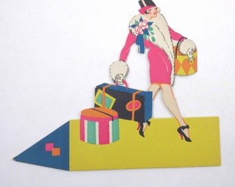 Vintage 1920s or 1930s Art Deco Place Card with Fabulous Lady and Hat Boxes