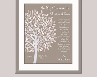 Gift For Godparents - Christening Gift For Godparents - Godparents Gift - Godparents Poem  Gift For Godmother and Godfather Godparents Print