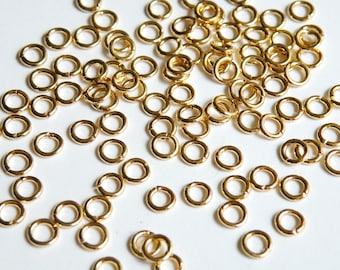 50 Jump Rings open round shiny gold plated brass 5mm 18 gauge A4908FN